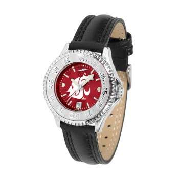 Washington State University Cougars Ladies Watch - Competitor Anochrome Poly/Leather Band