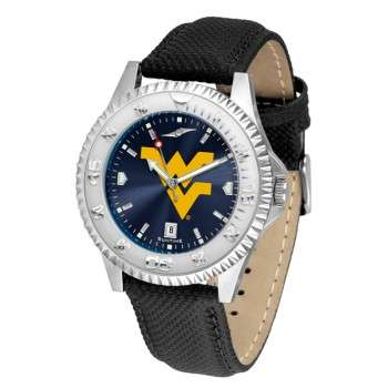 West Virginia University Mountaineers Mens Watch - Competitor Anochrome Poly/Leather Band