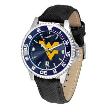 West Virginia University Mountaineers Mens Watch - Competitor Anochrome Colored Bezel Poly/Leather Band