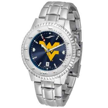 West Virginia University Mountaineers Mens Watch - Competitor Anochrome Steel Band