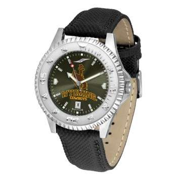University Of Wyoming Cowboy Joe Mens Watch - Competitor Anochrome Poly/Leather Band